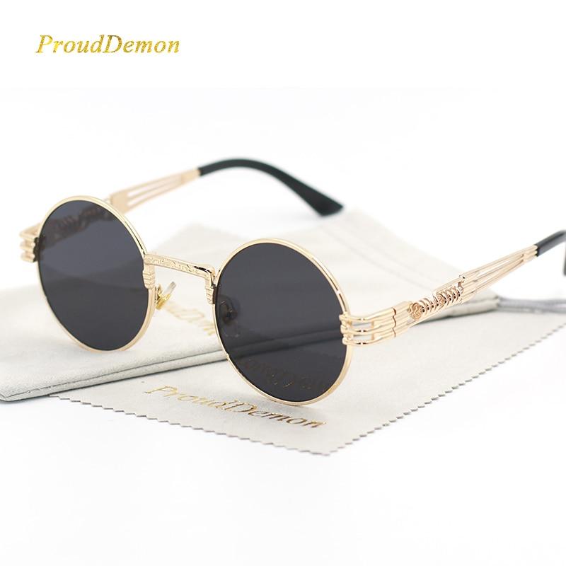 Gothic Steampunk სათვალე ქალები მამაკაცები მეტალის დასაფარებელი სათვალეები მრგვალი ჩრდილები რთველი ბრენდის დიზაინერი მამრობითი მზის სათვალეები Mirror oculos