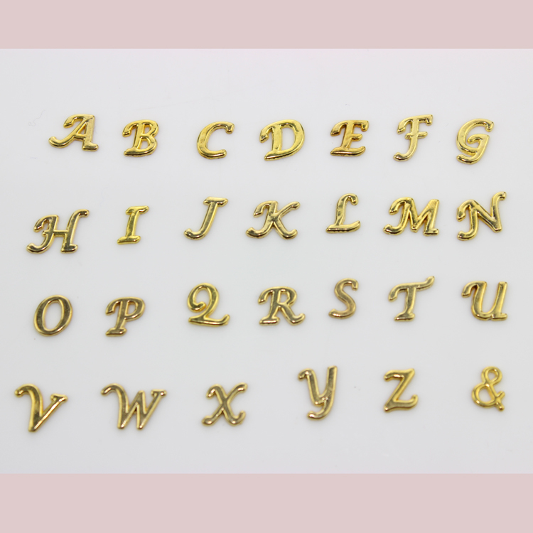 2016 hot selling 260pcs gold a z alphabet letter floating charms initial charms pendants for floating locket