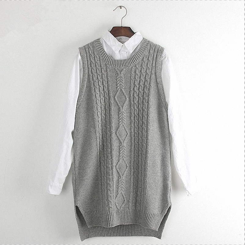 Women Tank Top Knitted Waistcoat Casual Solid Long Split Sleeveless Ribbed  O-neck Pullover Cable - Popular Cable Knit Vest-Buy Cheap Cable Knit Vest Lots From China
