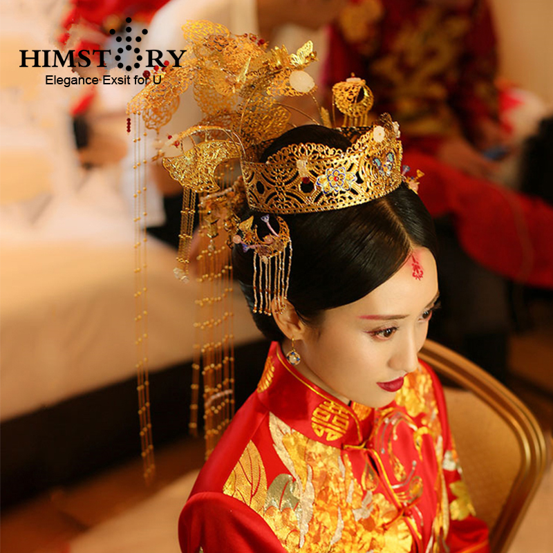 HIMSTORY Traditional Chinese Wedding Bride Hair Tiaras Costume Chinese Style Empress Princess Long Tassel Queen Hair Accessory 00009 red gold bride wedding hair tiaras ancient chinese empress hair piece