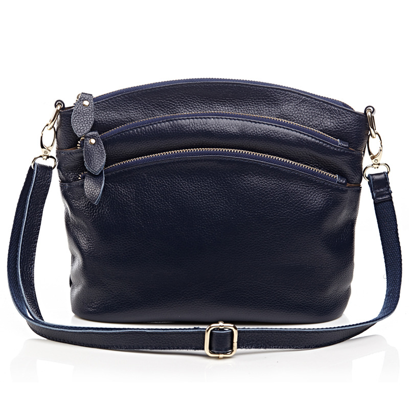 Prix pour Première couche brun véritable vache en cuir sacs des femmes de maman sac de messager occasionnel sac à main avec 3 poches zippées, 8237