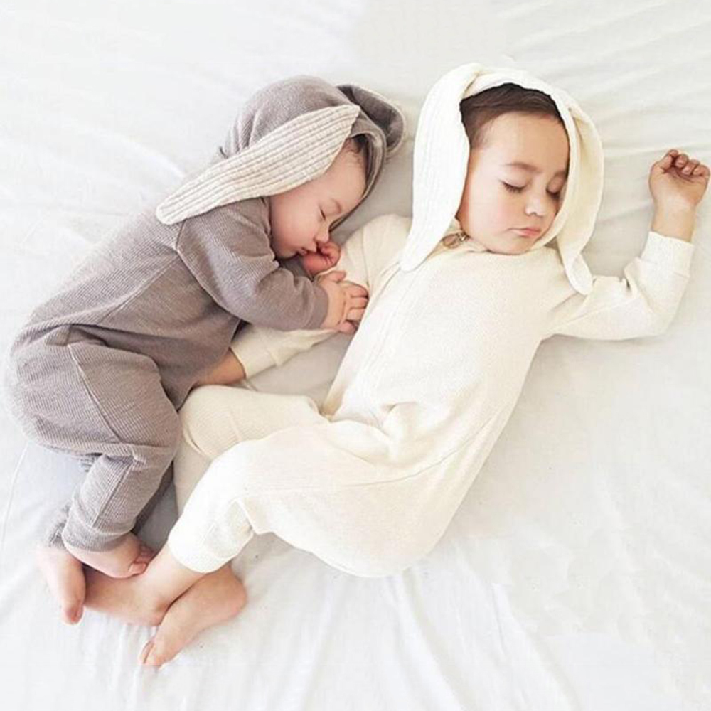 Cute Baby Bunny Ear Rompers Autumn Winter Infant Cartoon Rabbit Jumpsuit Cotton Boys Girls Hare Playsuits Hooded Clothes Pajamas