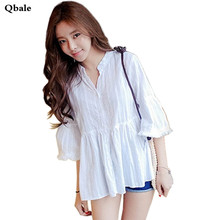 Qbale Korean Fashion Summer Tops Ladies 2017 Spring Cute Baby Doll Style Flare Sleeve Women White Shirts