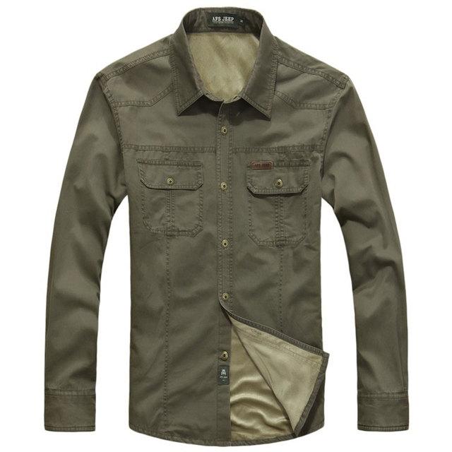 MEBOSYA 2016 Winter Men's Slim Fit Warm Dress Shirts Army Green Cotton Plus Size Thicken Fleece Shirt Men's Casual Long-Sleeve