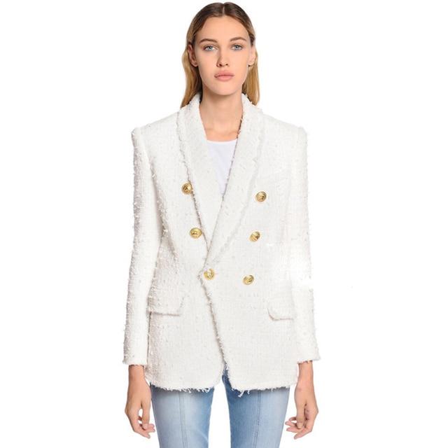 높은 품질 최신 패션 2020 디자이너 블레 이저 여성의 목도리 칼라 더블 브레스트 라이온 버튼 술 트위드 자켓 오버 코트
