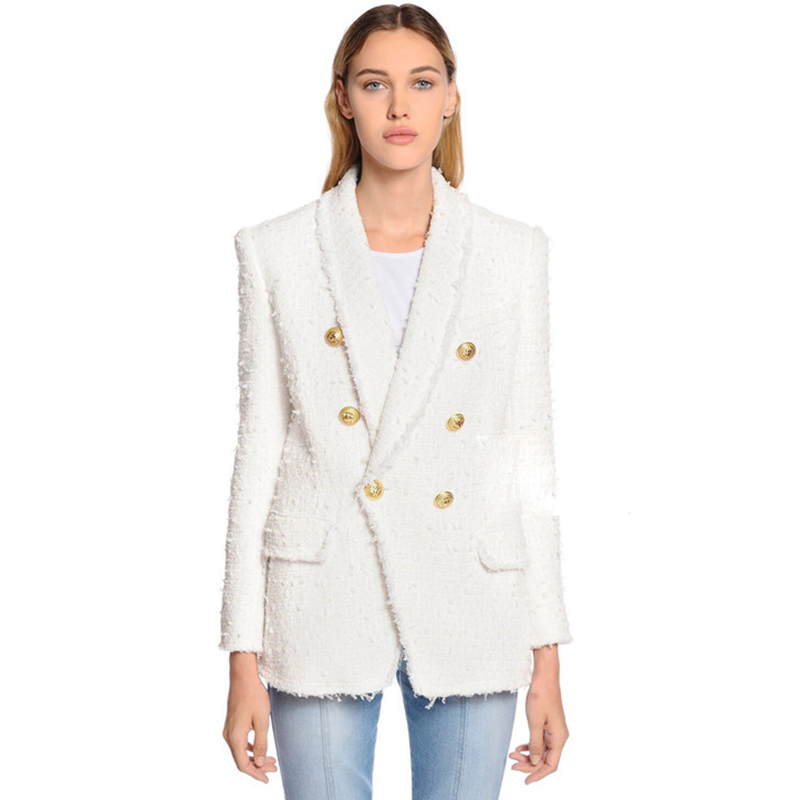 HIGH QUALITY Newest Fashion 2019 Designer Blazer Women's Shawl Collar Double Breasted Lion Buttons Tassel Tweed Jacket Over Coat