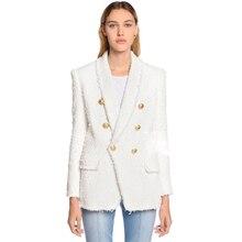 Yüksek kalite yeni moda 2020 tasarımcı Blazer kadın şal yaka kruvaze aslan düğmeler püskül tüvit ceket ceket