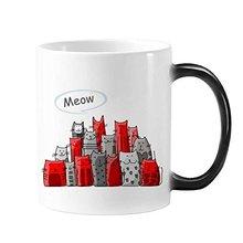 Cartoon Cute Cat Meow Protect Animal Pet Lover Morphing Heat Sensitive Changing Color Mug Gift Milk Coffee With Handles 350 ml mug lefard 350 ml with deer