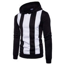 Mens New Arrivals casual Hoodies tops Fashion vertical striped Patchwork Stitching Sweatshirt Men Hoodie Loose big size M-XXXL