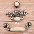 57mm 115mm bronze drop rings drawer cabinet pulls knobs cream ceramic dresser door handles knob Retro style furniture knobs 4.5""