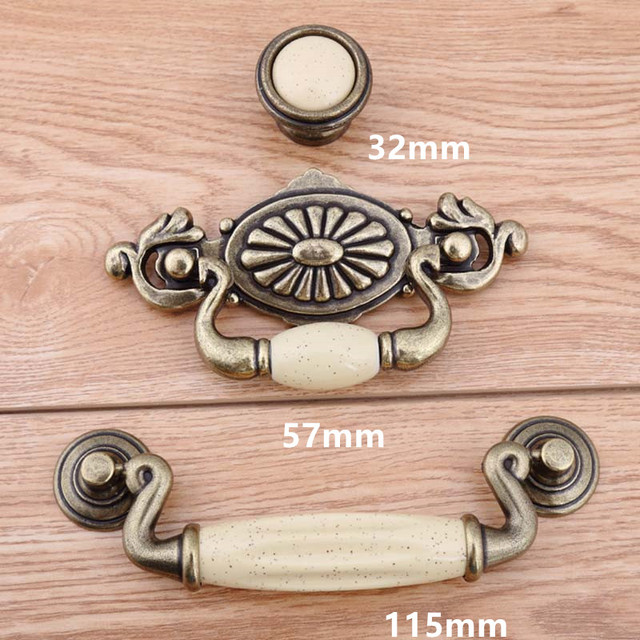 57mm 115mm Bronze Drop Rings Drawer Cabinet Pulls Knobs Cream Ceramic  Dresser Door Handles Knob Retro