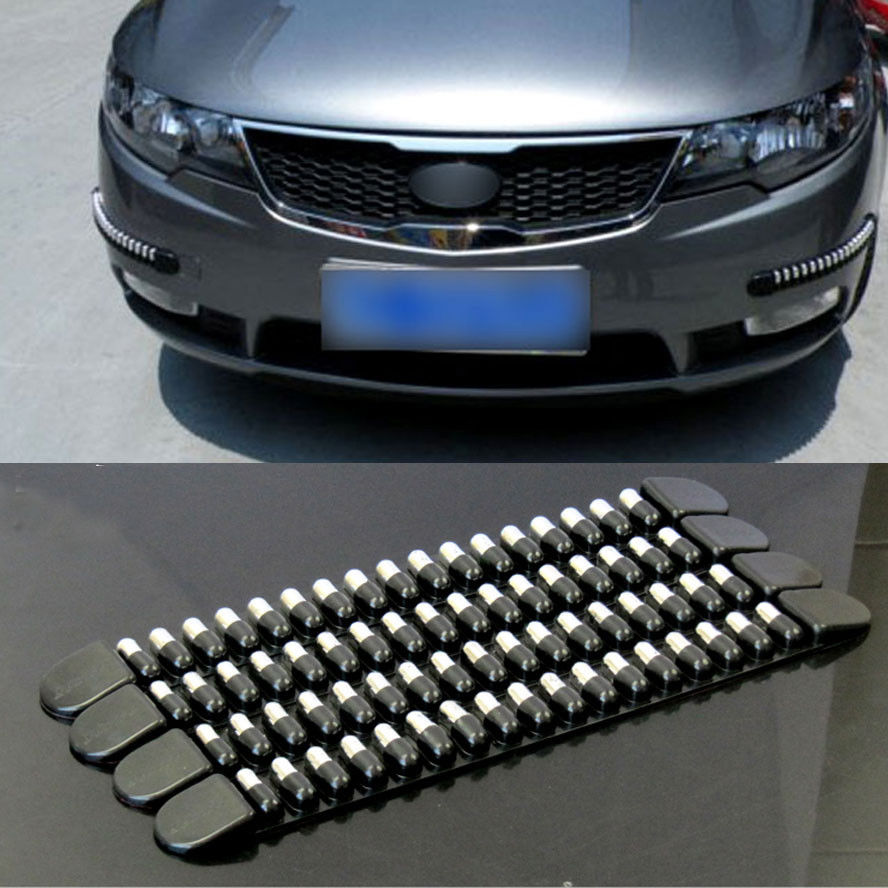 BBQ@FUKA 4x Chrome Rubber Car Front Rear Bumper Protector Corner Guard Scratch Sticker Fit For Honda Mazda Nissan Toyota ect