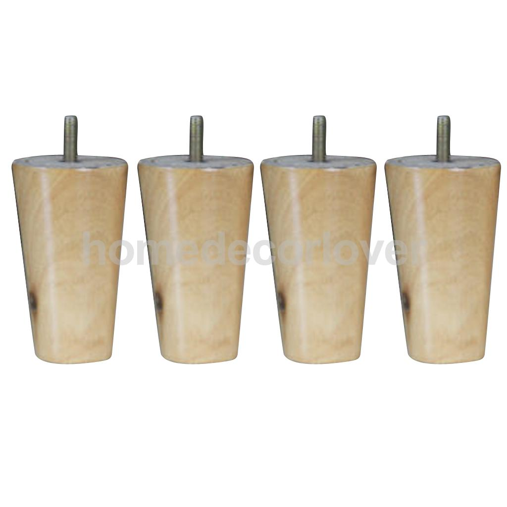 4Pcs 4inch Height Cone Shape Eucalyptus Solid Wood Furniture Sofa Legs Natural Color