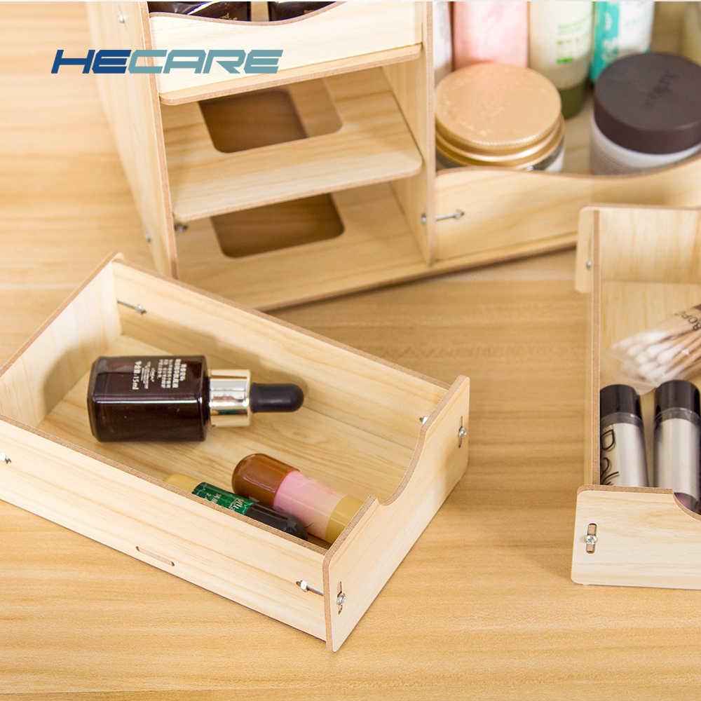 Baru Kayu Kosmetik Organizer Dropshipping Rumah Makeup Organizer Kayu Kotak Penyimpanan Desktop untuk Kosmetik Organizer untuk Kantor