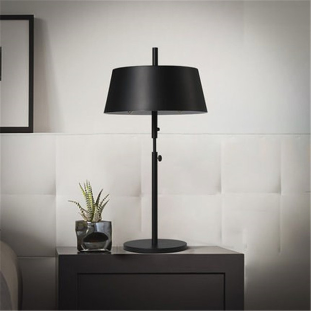 Nordic Retro Loft Black Table Lamp Modern Living Room Bedside Light Art Iron Hotel Room Table Lights Free Shipping