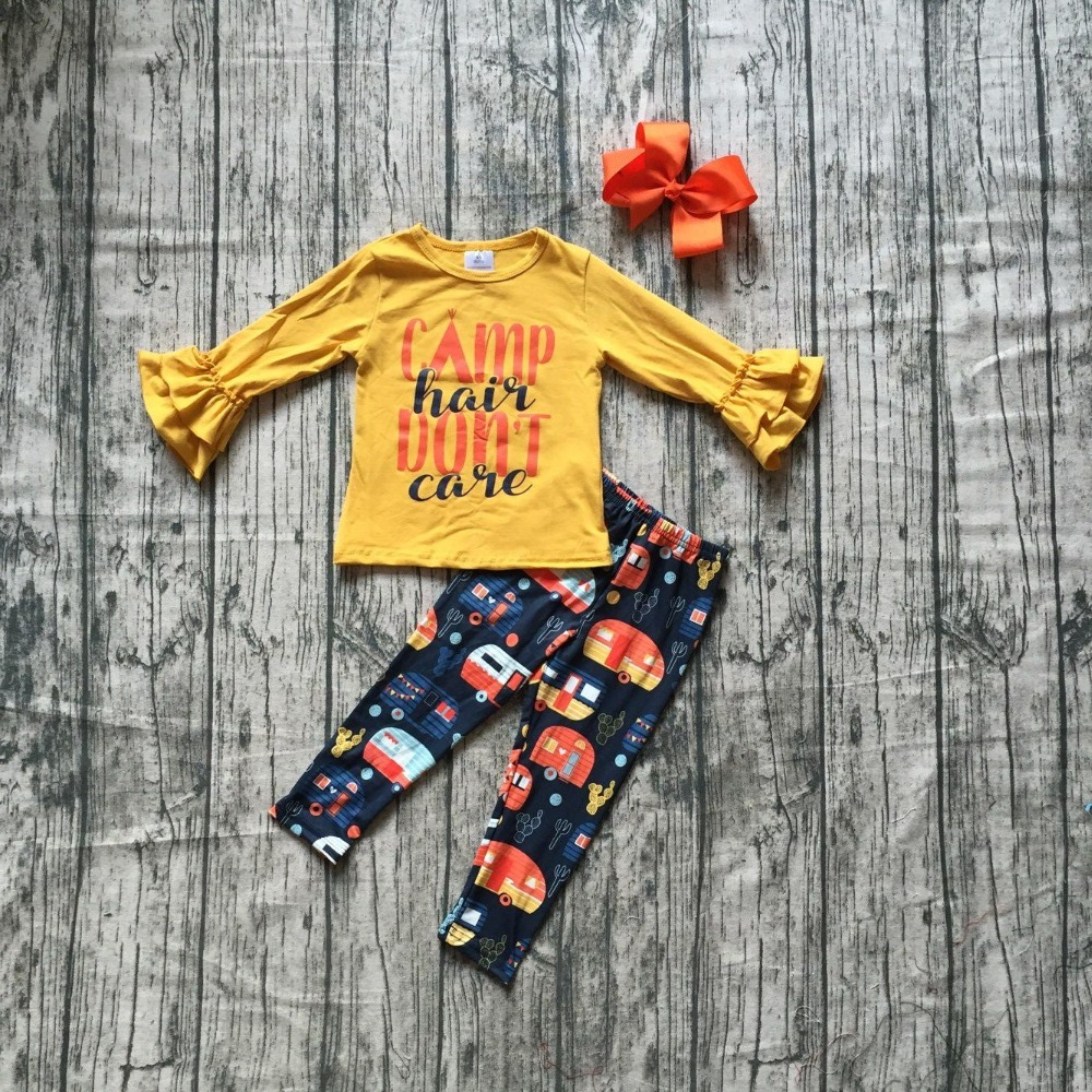 new arrivals Camp hair don't care fall/winter children clothes baby girls outfits mustard ruffles pants boutique match bow kids 2016 summer baby child girls outfits ruffles shorts white striped watermelon boutique ruffles clothes kids matching headband set