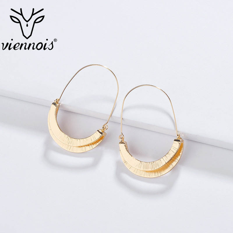 Viennois Earrings Alloy Fold Two Layer Simple Dangle Earring For Women Party Fashion Hot Sale Jewelry 2019(China)