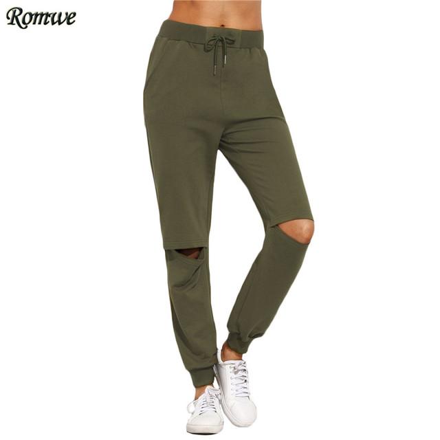 De las Mujeres ROMWE Pantalones Casuales Para El Otoño de Las Señoras Llanura Verde Del Ejército Cordón Mediados de Cintura de Lazo Recorte Rodilla Pantalones Largos