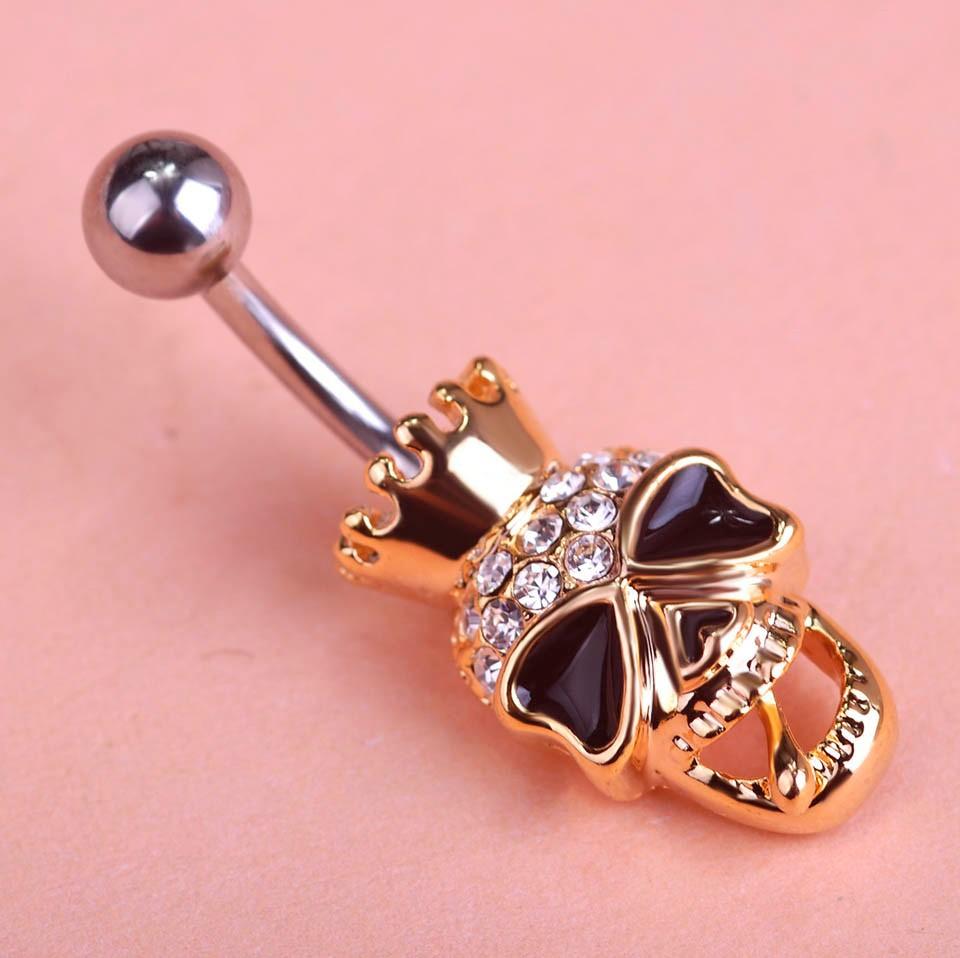 HTB1wmM.FFXXXXX4XFXXq6xXFXXXO Black Enamel Crowned Skull Body Jewelry Piercing Navel Ring