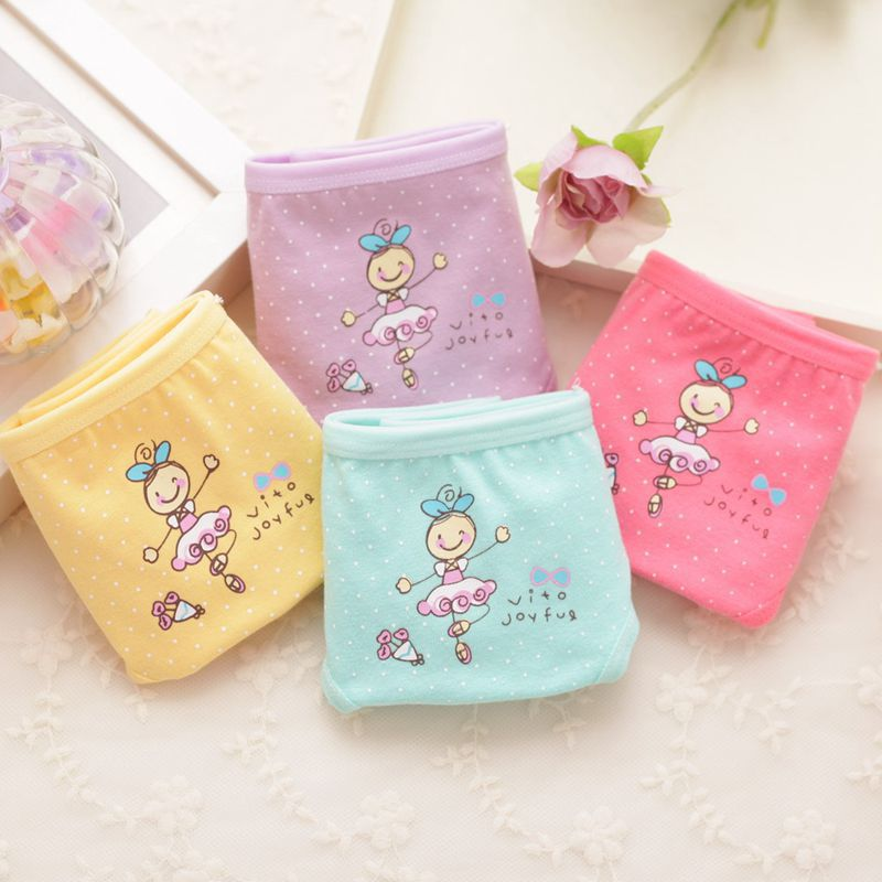 4pc/lot  100% Cotton Dot Cartoon Pattern Candy Colors Triangle Pants Suitable For 2-10 Years Girl TNN0059