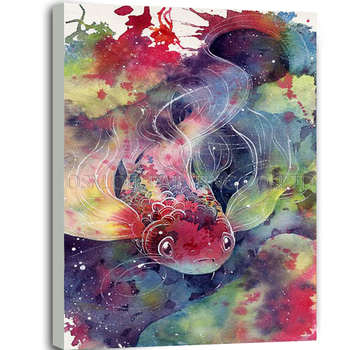 Experienced Artist Pure Handmade High Quality Impression Goldfish Oil Painting on Canvas Colorful Animal Fish Oil Painting