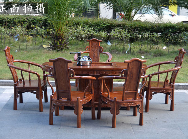 African rosewood mahogany furniture Chinese antique wood tea table tables  153 Oval coffee parlor teasideend - Antique Rosewood Furniture Promotion-Shop For Promotional Antique