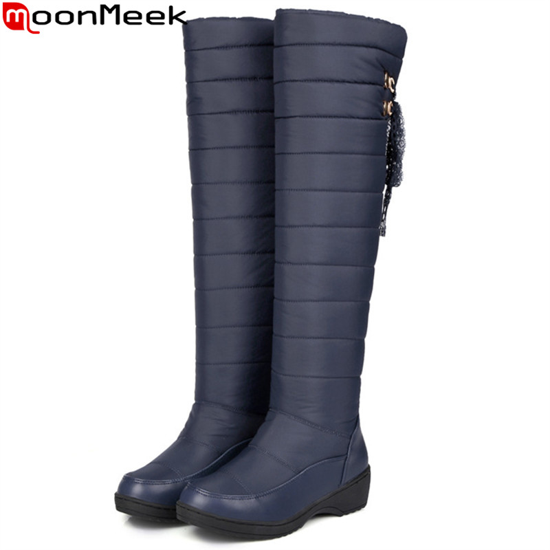MoonMeek fashion winter new arrive women boots Keep warm Down waterproof ladies snow boots black blue knee high boots plus size anne klein new blue black women s size small s button down back blouse $59