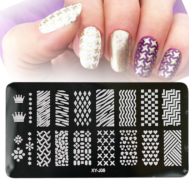 1pcs Rhombus/Wave Pattern Women Nail Art Image Polish Print Nail Art ...