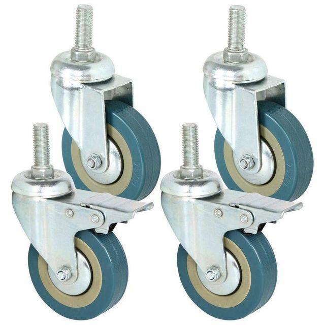4 PCS מכירה לוהטת כבד החובה 75mm המסתובב קיק עם בלם גלגלי עגלת גלגלים עבור רהיטים