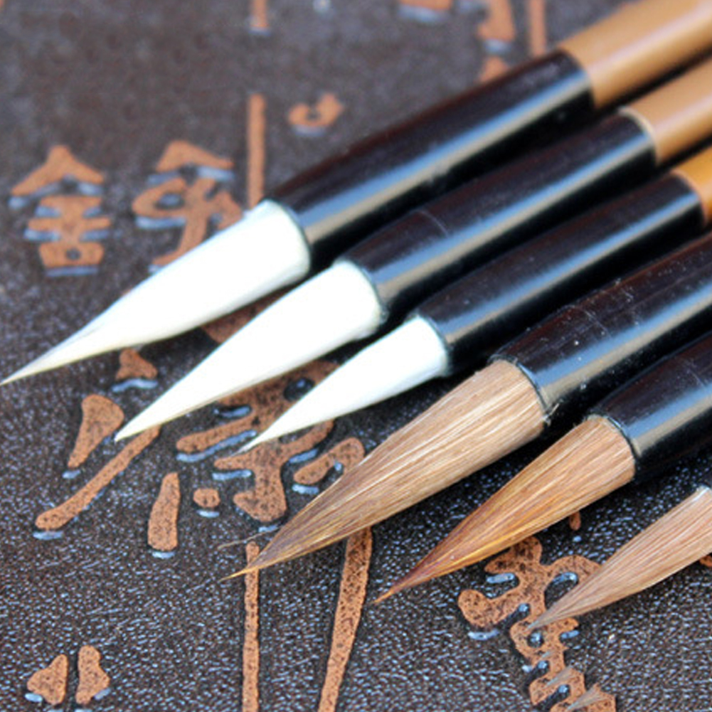 6PCS/Set Chinese Traditional Writing Brushes White Clouds Bamboo Wolf's Hair Writing Brush For Calligraphy Painting Practice