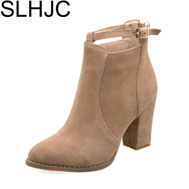 SLHJC 2017 Autumn High Heels Boots Pointed Toe Square Heel Fashion Lady Martin Ankle Boots Pumps Shoes D15 slhjc fashion 2017 summer autumn medium heel pumps square toe ribbon all match velvet sandals