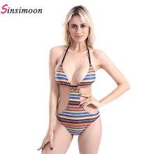 Sexy backless striped hollow out swimwear women spring summer Boho one-piece suit water high waist bikini set beach biquini