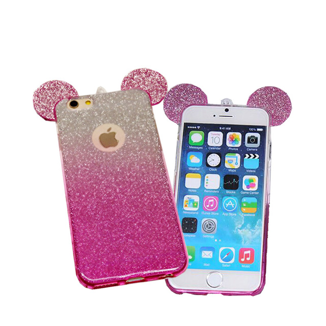 half off d6943 421c9 US $4.36 |2016 New 3D Mickey Minnie Mouse Ears TPU Glitter Gradient Case  For IPhone 6 6S Plus 5 5S Case Cover With Hang Rope Phone Cover on ...