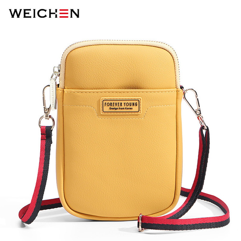 WEICHEN NEW Small Shoulder Bag Women Cell Phone Pocket Soft Leather Ladies Mini Crossbody Bags Girl Purse Female Messenger Bag