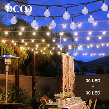Dcoo 2 Pieces Solar LED Powered String Lights 30 LEDs Globe Ball Waterproof  Outdoor Lighting Garden Holiday Wedding Decoration