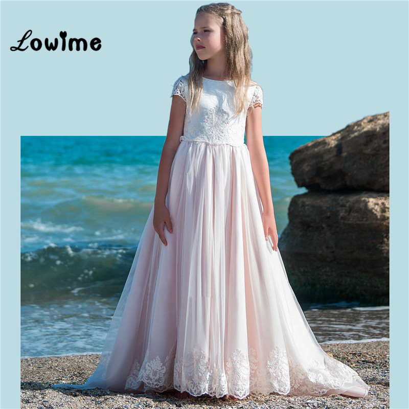 Light Pink   Flower     Girl     Dresses   For Weddings With Detachable Train Pageant   Dresses   For   Girls   Kids Party Gown Vestido De Daminha