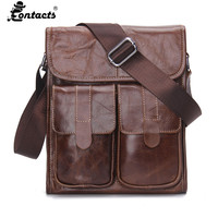 Contact S Men Handbags Genuine Leather Men Bags Promotional Crossbody Shoulder Bag Shoulder Vintag Men Messenger