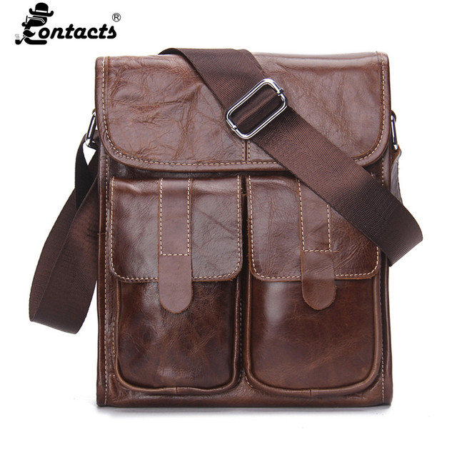 2f4488ef70e2 Contact's Men Handbags Genuine Leather Men bags Promotional Crossbody  Shoulder Bag Shoulder Vintag Men Messenger Bags Briefcase-in Crossbody Bags  from ...