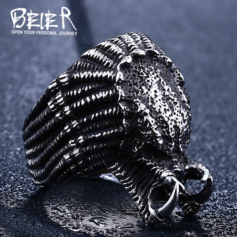 2017 Movie Alien predator ring Stainless steel punk ring  New Designed cool Fashion Jewelry  LLBR8-451R