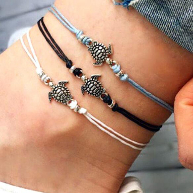 Boho Anklet for Women Fashion Black White Wax String Lacing Foot Jewelry Beads B