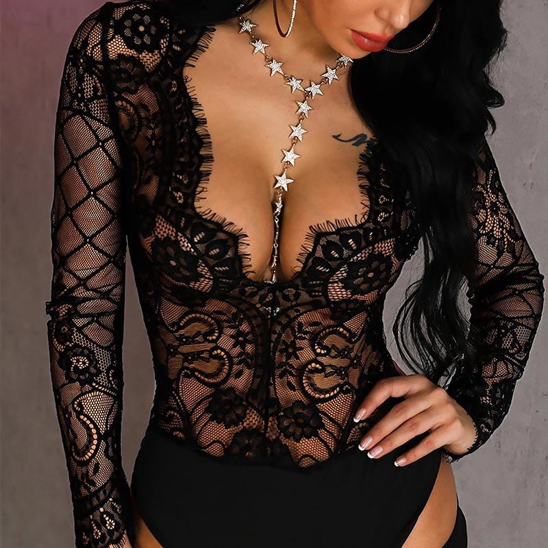 Mesh Lace Bodysuit Women Body Suit Hollow Out Sexy Long Sleeve Bodysuits 2019 Fashion Deep v Black Short   Jumpsuits   Lady Catsuit