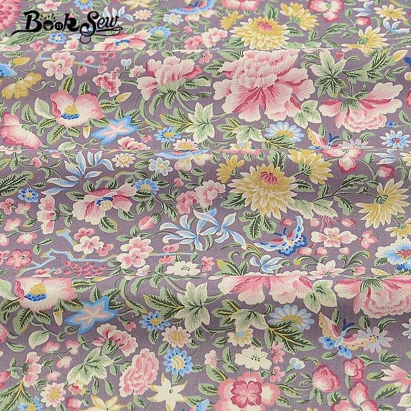 Booksew Flower Rose Design Sewing Coth 100% Cotton Twill Fabric Home Textile Quilting Baby Bedsheet Patchwork DIY Doll Craft CM