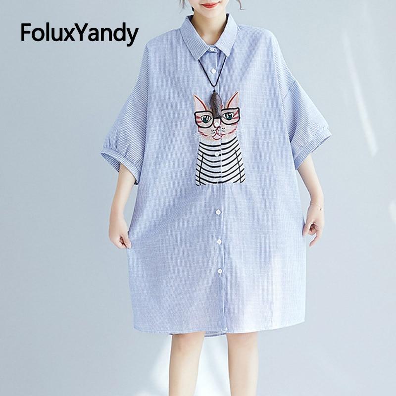 7 XL Oversize   Blouses   Women Half Sleeve   Shirts   Plus Size Casual Cartoon Embroidery Blue Striped Summer Long   Blouse     Shirt   NQYL81