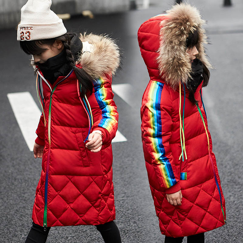 Winter Coat Girl Real Fur Collar Hooded Kids Overcoat Children Outerwear Winter Jackets Coats For Girls Thick Long Parka 5-13 Y 2017 kids jacket winter for girl and coats duck down girls fluffy fur hooded jackets waterproof outwear parkas coat windproof