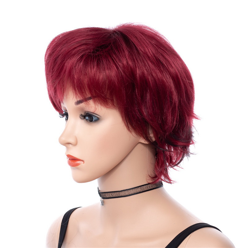 Yiyaobess 8inch Black Highlights Hair Short Red Wig Synthetic Puffy African American Wigs For Women High Temperature Fiber