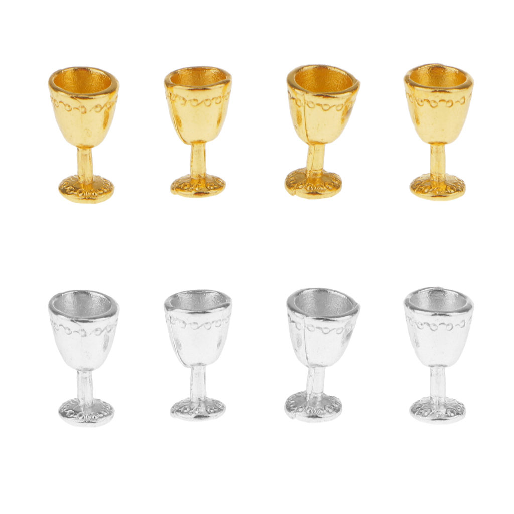 4pcs Dollhouse Miniature Silver Gold Metal Goblets Classic Kitchen Toys For Kids Children Furniture Toy Dolls Accessories Gift