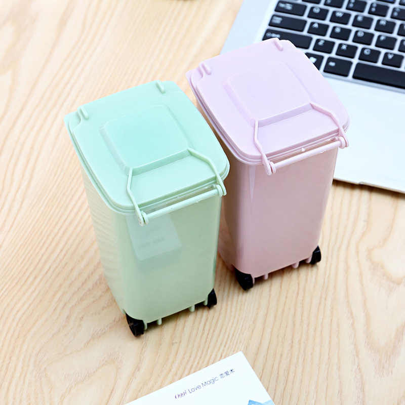 Hogar Oficina Creativa Wheelie Mini basura de escritorio cubo de plástico cubo de basura Mini contenedores de residuos pequeñas tijeras lápiz