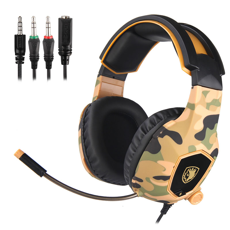 New style Professional E-sport camouflage colors line control headphone with mic bass stereo HD call depth denoise games headset