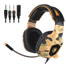 Smart Game headset Professional E-sport camouflage colors line control  HD mic super bass stereo depth noise reduction headphone