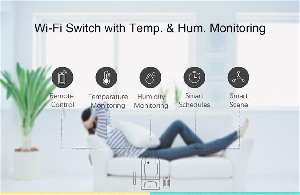 6----Sonoff TH10 Wifi Smart Switch with Temperature & Humidity Monitor Sonoff DR DIN Rail Tray Adjustable Mounted Rail Case Holder